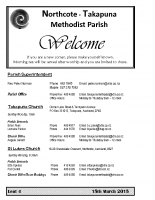Takapuna Methodist Church Bulletin – 15th March 2015